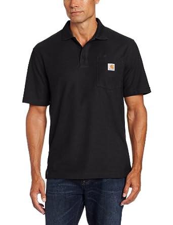 Carhartt Men's  Contractors Work Pkt Polo, Black, Small