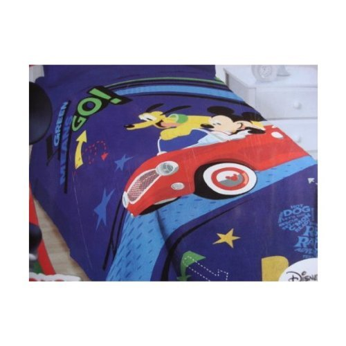 """Disney Mickey Mouse Clubhouse Plush Blanket 62"""" X 90"""" Road Rally Adventure! Twin Full front-100384"""