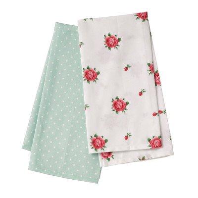 Royal Albert New Country Roses & Green Polka Dot Set Of 2 Tea Towels