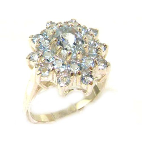 Fabulous Solid Sterling Silver Natural Aquamarine 3 Tier Large Cluster Ring - Size 12 - Finger Sizes 5 to 12 Available - Suitable as an Anniversary ring, Engagement ring, Eternity ring, or Promise ring