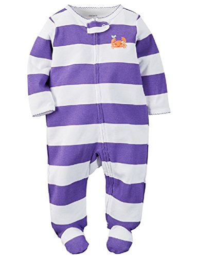Carter's Baby Girls' Cotton Sleep & Play (9 Months, Purple Stripe Crab)
