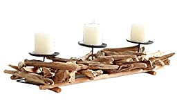 Liveiny Reclaimed Twisted Wood Tealight Candle Sticks Holder For 3 Candle Bows