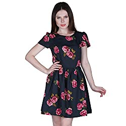 PRAKUM Women's Chiffon Regular Fit Dress Black Printed Pink flower (XXX-Large)
