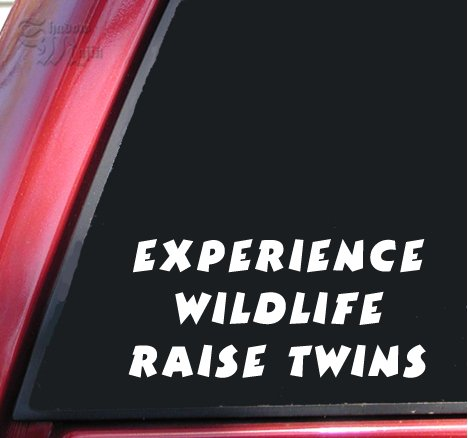 Experience Wildlife Raise Twins White Vinyl Decal Sticker (Twins Window Decal compare prices)