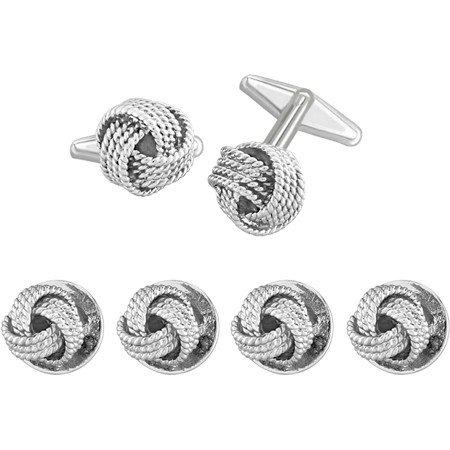 Tuxedo stud and cufflink set silver tone designer inspired for Stud sets tuxedo shirts