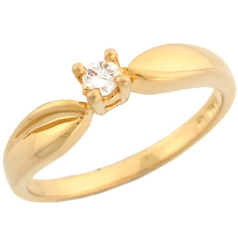 10k Yellow Gold Beautiful Round Cut Diamond Solitaire Promise Ring