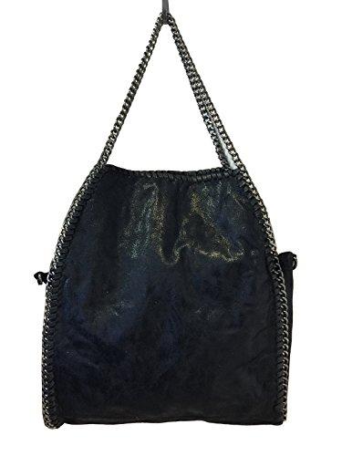 fashiondu-glitzer-kette-hand-tasche-bella-schultertasche-shopper-chain-bag-grun-schwarz-schwarz