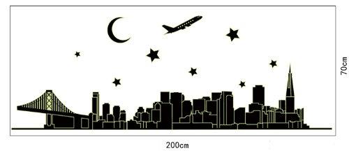 Peel N' Stick Glow in the Dark NYC New York Skyline Wall Decal