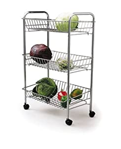 Kitchen Craft Chrome Plated Three Tier Trolley
