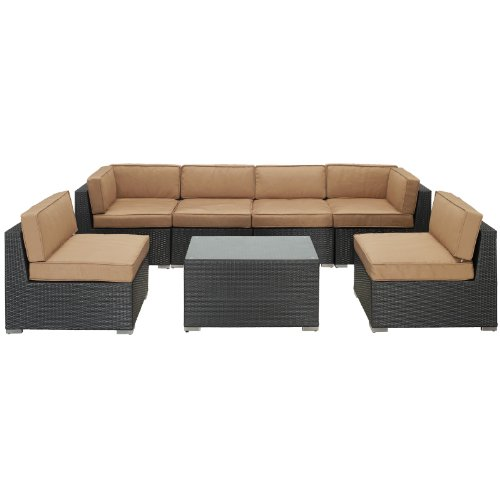 LexMod Aero Outdoor Wicker Patio 7-Piece Sectional Sofa Set in Espresso with Mocha Cushions