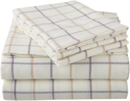 Pinzon 160-Gram Yarn-Dyed 100-Percent Cotton Flannel Sheet Set, Twin Xl, Lavender Plaid