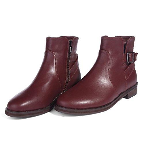 Martin stivali, scarpe per autunno/inverno stivali donna grezzo con tubo corto stivali retrò zip laterale di Inghilterra , 2013-5 wine red velvet , 38