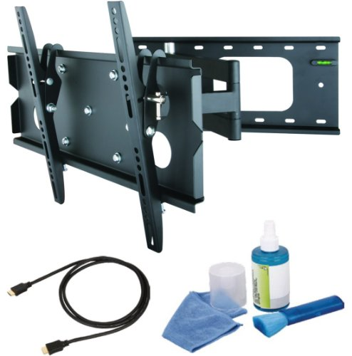 Full-motion slimline wall mount Black Bracket with 623mm extension-Single Arm fits 23 24 26 27 28 32 37 inch LCD / LED / Plasma TV of ALL MAKES ALL MODELS comes with FREE GOLD HDMI CABLE AND SCREEN CLEANING KIT