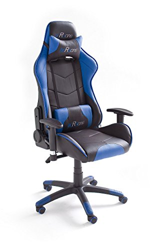MC-Racing-7-Gaming-Stuhl-Chefsessel-mit-Armlehnen-Bro-Schreibtischstuhl-Sportsitz-Optik-inklusiv-Kissen-Bezug-Kunstleder-PVC-circa-69-x-125-135-x-58-cm-schwarz-blau-62497SB3