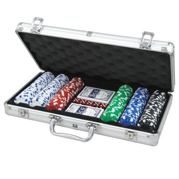 CQ Poker Set 300 Chips 2x Card Decks, Dice, Dealer Button inc. Aluminium Carry Case