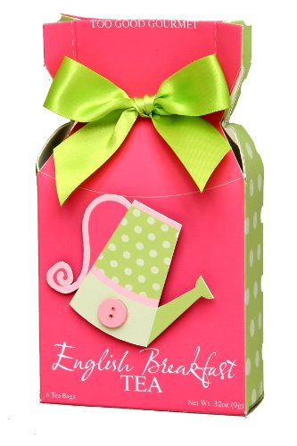 Too Good Gourmet English Breakfast Tea In Pink Button Box, 1.92-Ounce Boxes (Pack of 6)