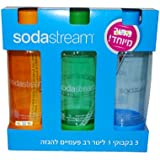 Original Sodastream Three Pack 1 Liter Carbonating Bottles - Lasts 2 years - Orange, Blue, and Green