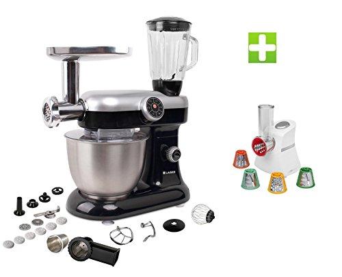 KLAISER Pack Robot Pétrin Pâtisser Multifonctions Kitchen MIX KM284MEX Professional avec Machine à pâtes et Kit Tranchoir / Râpe + Magic Hachoir Multi Express