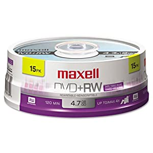 Maxell® - DVD+RW Discs, 4.7GB, 4x, Spindle, Silver, 15/Pack - Sold As 1 Pack - Rewritable.