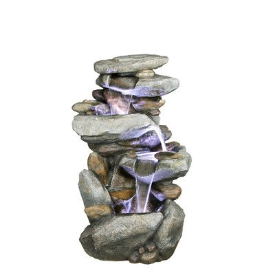 Alpine Indoor or Outdoor Cascading Rock Waterfall Fountain with Light