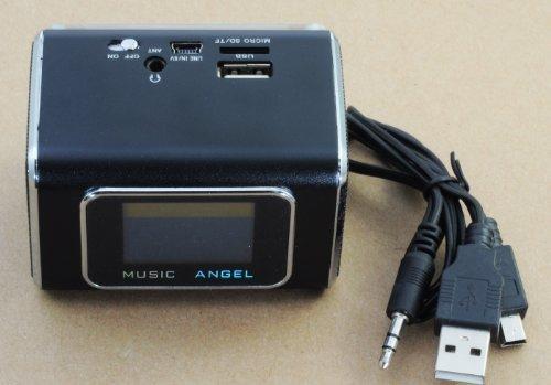 Qumox@ Music Mini Lautsprecher Radio mit Bildschirm für iPod iPhone 4 4s 5 s3 note Md05X Man women Angel Schwarz
