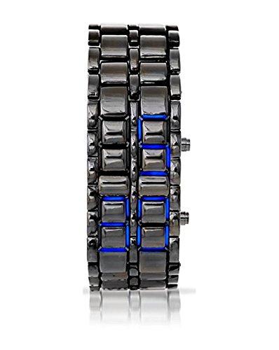 Unisex DigialLedLava Iron Samurai Style FacelessWatch Bracelet - Grey With Blue Led
