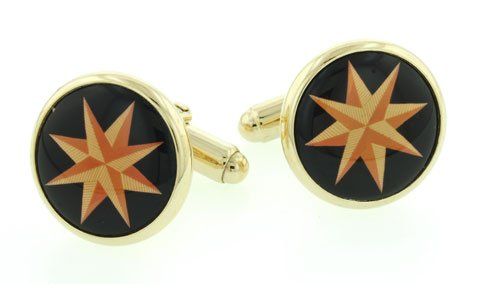 Gold plated cufflinks with a star image. Made in the U.S.A. Presentation boxed