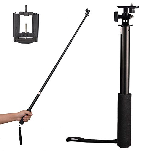 "Mudder 39"" 3-Way Telescopic Handheld Monopod Self-Portrait Pole Events/ Sports/ Selfie Stick Extender + Upgraded Smartphone Holder Mount, For Most Cell Phones, Digital Cameras, Gopro Hd Hero 3+ 3 2 Sj4000 Sports Camera, Sony Hdr-As15 Hdr-As30V Hdr-As100V front-1043221"