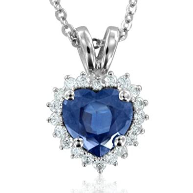 Heart Shaped Natural Sapphire and Diamond Necklace in 18k White Gold G