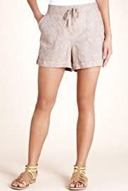 Pure Linen Floral Print Turn Up Hem Shorts [T54-4269-S]
