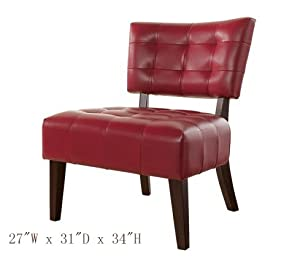 Accent Chair with Oversized Seating in Red Blended Leather