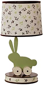 Kids Line Bunny Meadow Lamp Base and Shade, Green/Brown