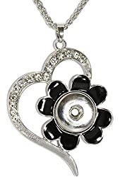 AnsonsImages Clear Rhinestone Black Flower Heart Pendant Silver Tone Snap On Button Necklace Wedding Gift