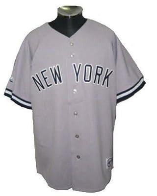 ヤンキース new york yankees ベースボールシャツ majestic グレイ (XXL)