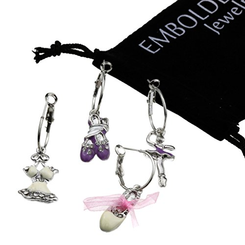Charm Silver Ballet Accesories Hinged Earwire Earrings Set in Studded Crystals Dress, Shoes and Dancer (Teen Mom 2 Season 10 compare prices)