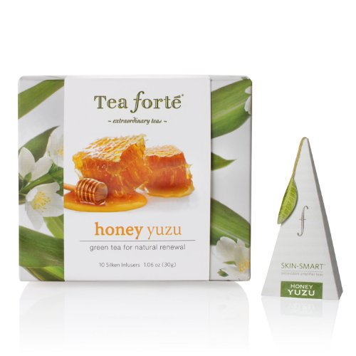 Tea Forte Petite Ribbon Box 10 Silken Pyramid Infusers Skin Smart Honey Yuzu