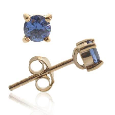 18K Rose Gold over Sterling Silver Tanzanite CZ 4mm Round Stud Earrings