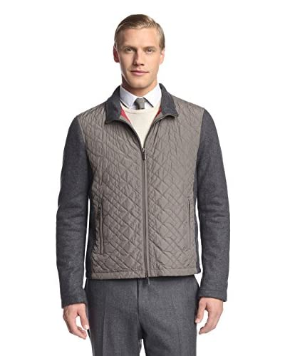 Canali Men's Quilted Jacket with Contrast Sleeves
