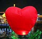 Love Heart Shaped Flying Chinese Sky Lanterns Biodegradable Make A Wish Pink PACK OF 5'S