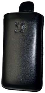 Original Suncase Echt Ledertasche (Lasche mit Rückzugfunktion) für Samsung Galaxy S Super Clear LCD (i9003) in schwarz