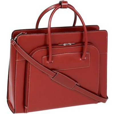 McKlein W Series Lake Forest Leather Ladies Briefcase - Red