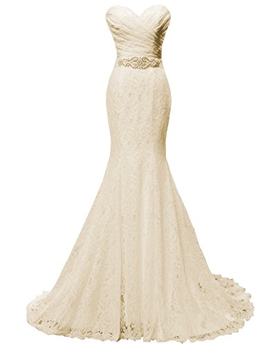 Solovedress Women's Lace Wedding Dress Mermaid Evening Dress Bridal Gown with Sash (US 2, Champagne)