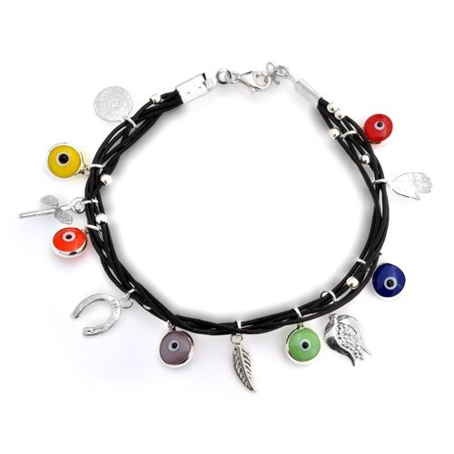 Bling Jewelry Multi Color 925 Silver Black Leather Evil Eye Charm Bracelet 7 Inch