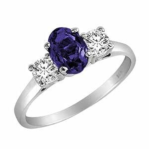 18K White Gold Oval Blue Sapphire & Round Diamond 3 Stone Ring (1 ctw) Size 10 1/2