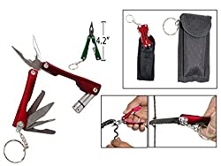 9-in-1 Multifunction Foldable Titanium Coated Micro Pliers Tool Kit with Krypton Bulb Flashlight + Carry Pouch - For Camping, Travel, Personal Use