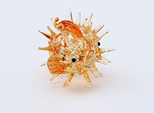 Aquarium MINIATURE HAND BLOWN Art GLASS Brown Puffer Fish FIGURINE Collection (Aquarium Fish Chart compare prices)