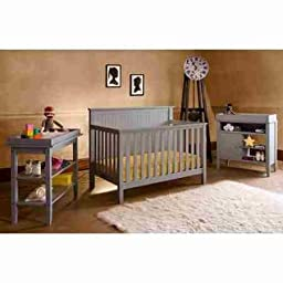 Lolly and Me Americana 4-in-1 Fixed-Side Convertible Pebble Grey Crib