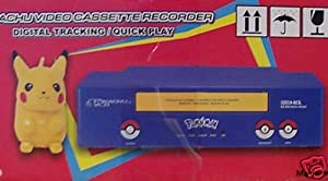 Pokemon Pikachu VCR Video Cassette Recorder with 19 Micron Head and 2 Remotes 1 Pikachu Stuff Toy Remote