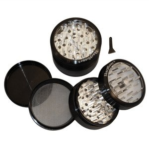 "3.0"" - Black 4 Piece SharpStone Clear Top Herb Grinder"