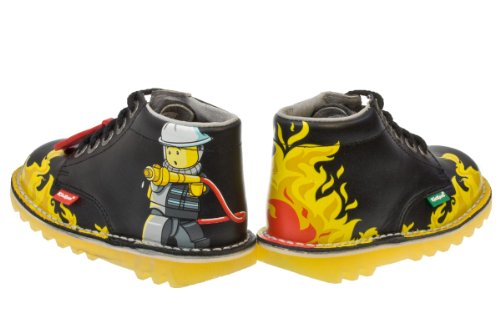 Kickers Kick Hi Lego Fire Toddler Black Ankle Boots